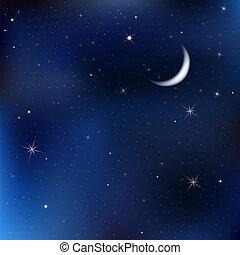 夜空, 星, 月