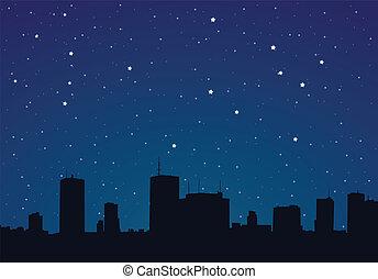 夜, イラスト, 都市, ベクトル