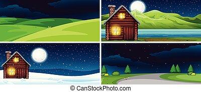 夜, セット, 風景, 自然