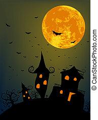 夜, フルである, ハロウィーン, 月