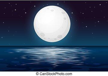 夜, フルである, 海洋, 月