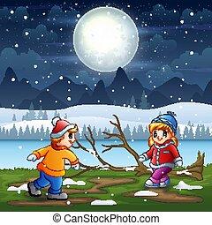 夜, 冬, 遊び, 風景, 子供