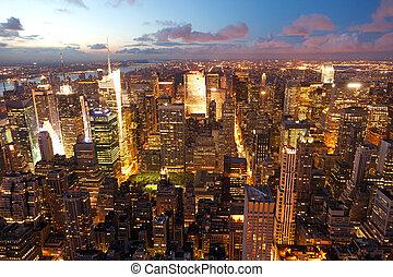 夜, 建物, 州, 帝国, ヨーク, 新しい