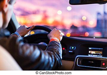 夜, 彼の, 運転, 自動車, 現代, -man