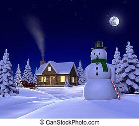 夜, 提示, themed, sleigh, cene, 雪, 雪だるま, クリスマス, キャビン