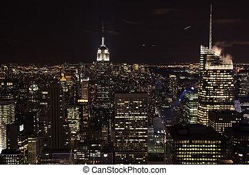 夜, 東, 建物, 州, 帝国, スカイライン, 川, 都市, ヨーク, 新しい