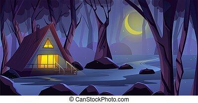 夜, 森林, ライト, 端, fireflies, 恐い, 木製である, ベクトル, swamp., 窓, ハエ, 家, 木。, イラスト, 森林, 階段。, 海原, コテッジ