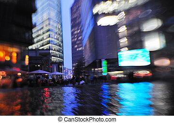 夜, 都市, 動き, 忙しい, 自動車, ライト, ぼんやりさせられた, 通り