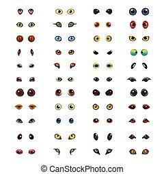 大きい目, ベクトル, セット, 動物