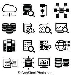 大きい, アイコン, 技術, データ