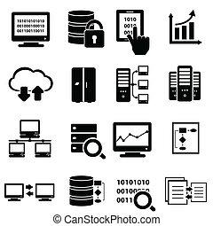 大きい, セット, データ, アイコン