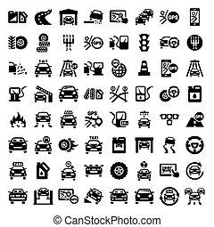 大きい, セット, 自動車, アイコン
