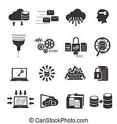 大きい, セット, 計算, アイコン, 雲, データ