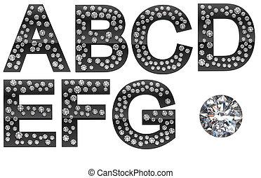 大きい, ダイヤモンド, 手紙, 宝石, a-g
