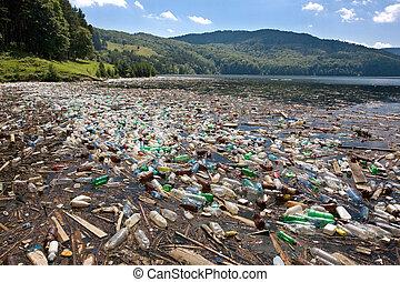 大きい, プラスチック, 汚染
