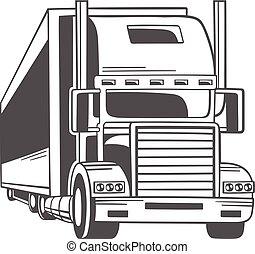 大きい, ベクトル, truck., illustration.