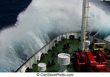 大きい, 上に, 波, snout, 回転, 船