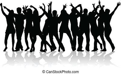 大きい, 人々, グループ, 若い, ダンス