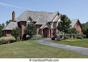 大きい, 家, れんが, ヒマラヤスギ, 屋根