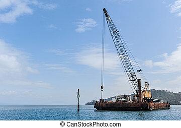 大きい, 浮く, クレーン, てんま船
