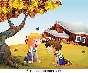 大きい, 蝶, 子供, 木, 遊び