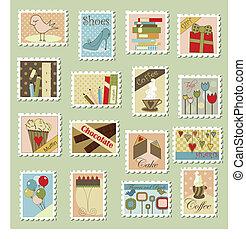 大きい, 郵便切手, セット