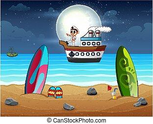 大尉, 航海, 夜, 漫画