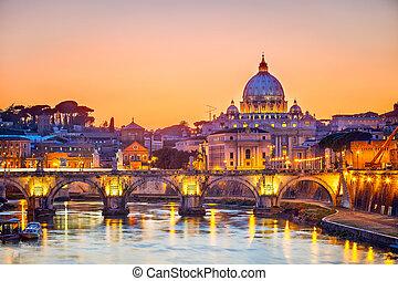 大聖堂, st. ピーター, 夜, ローマ