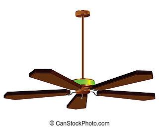 天井 ファン, ランプ, 隔離された