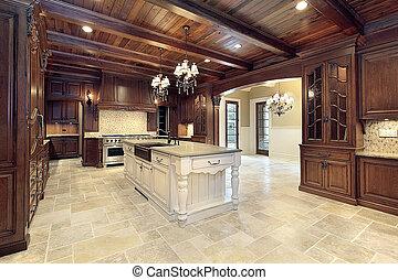 天井, 木, 上流である, 台所