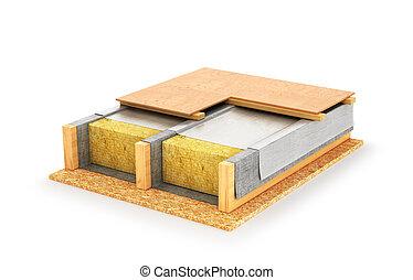 天井, 構造, 木製である, 隔離された, 重なり合う, バックグラウンド。, イラスト, 白, 3d