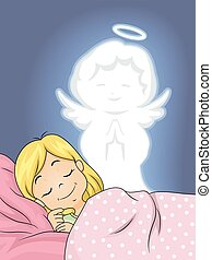天使, 女の子, 平和である, 睡眠, 子供, 保護者