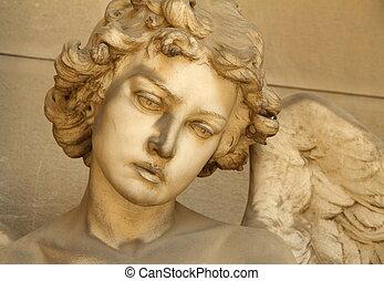 天使, 彫刻, 顔, -