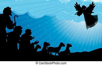 天使, 羊飼い, シルエット