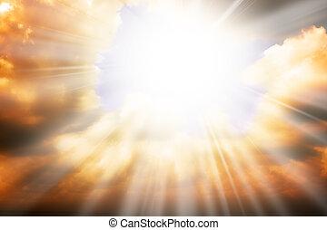 天国, 太陽, -, 光線, 宗教, 概念, 空