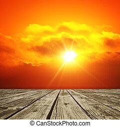 太陽が輝く