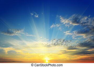 太陽, の上, 地平線