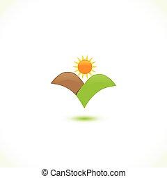 太陽, アイコン, 山, ロゴ