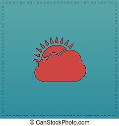 太陽, シンボル, コンピュータ, 雲