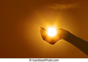 太陽, ジェスチャー, 手