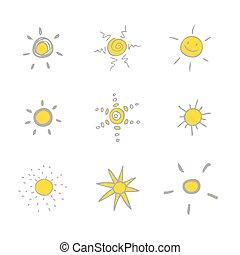 太陽 セット, -, 図画, freehand
