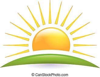 太陽, ベクトル, 緑の丘, ロゴ, アイコン