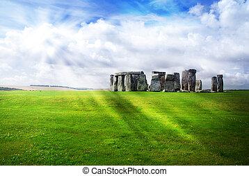太陽, 上に, 光線, stonehenge
