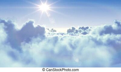 太陽, 上に, 飛行, 雲