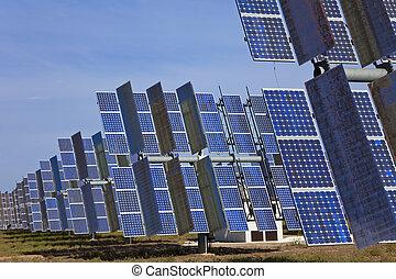 太陽, 光起電, 緑のフィールド, パネル, エネルギー