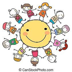 太陽, 幸せ, 子供, のまわり, 遊び
