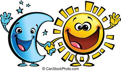 太陽, 月, 特徴, 赤ん坊, 友人, 漫画, 最も良く