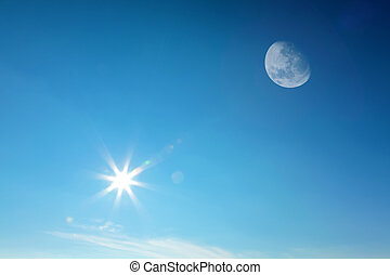 太陽, 空, 一緒に, 月