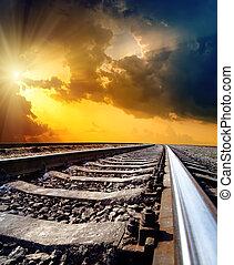 太陽, 空, 劇的, 地平線, 下に, 鉄道