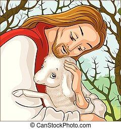 失われた, 羊飼い, 肖像画, 寓話, とげ, sheep., 歴史, 救助, 子羊, christ., イエス・キリスト, 捕えられた, よい